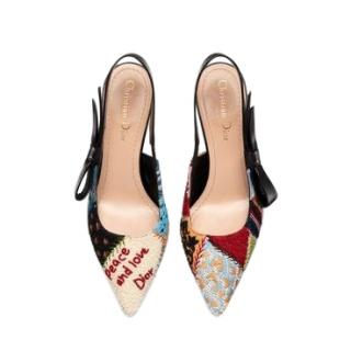 Dior Embroidered Patchwork Sweet-D Slingback