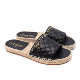Chanel Black Lambskin Diamond Quilted Chain Detail Espadrille Sandals