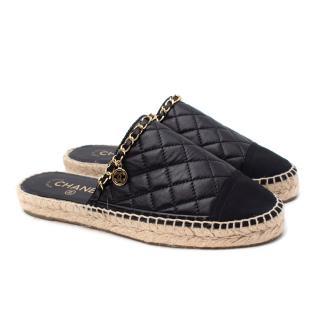 Chanel Black Diamond-Quilted Lambskin Suede Toe Cap Espadrilles