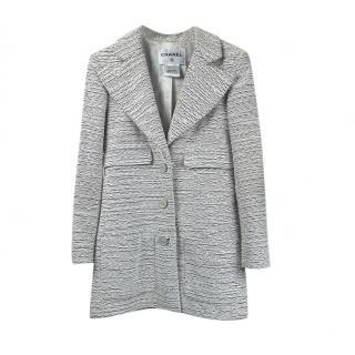 Chanel Grey Tweed Tailored Longline Jacket