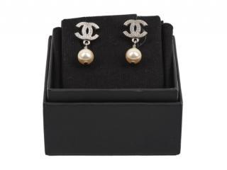Chanel Faux Pearl Drop CC Earrings