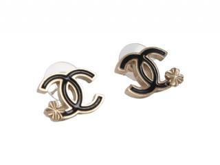 Chanel Gold Tone Black Enamel CC Earrings