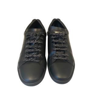Saint Laurent Metallic Lips Applique Black Leather Sneakers