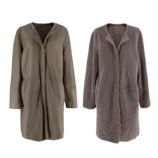 Yves Salmon Grey-Brown Reversible Shearling Collarless Coat