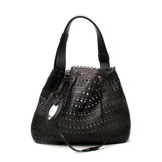 Alaia Medium Black Leather Laser Cut Tote Bag