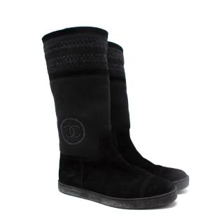 Chanel Black Sheepskin & Suede Embroidered Knee Boots