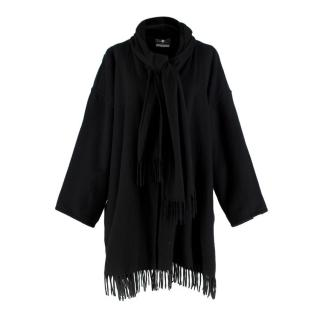 Salvatore Ferragamo Black Cashmere Fringed Poncho Coat