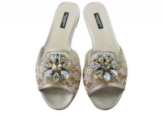 Dolce & Gabbana Crystal Embellished Silver Lace Slides