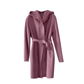 Max Mara Lilac Double Faced Wool Hooded Coat