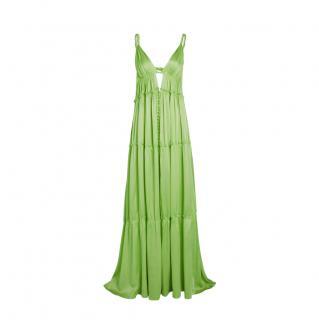 Jonathan Simkhai Jade Tiered Silk Sandwashed Charmeuse Gown