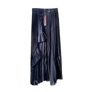 High by Claire Campbell Navy Pleated Midi Skirt