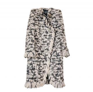 Chanel Beige & Black Tweed Paris/Cosmopolite Coat