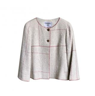 Chanel Ecru/Red Contrast Stitch Short Tweed Jacket