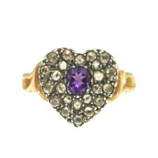 Bespoke Georgian Diamond & Amethyst Heart Shape Ring