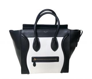 Celine Black & White Mini Luggage Tote Bag