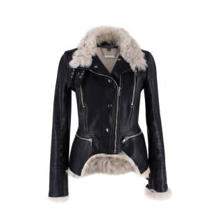 Alexander McQueen Ivory Shearling & Black Leather Biker Jacket