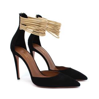 Aquazurra Hello Lover Black Suede Gold Ankle Strap Heeled Pumps