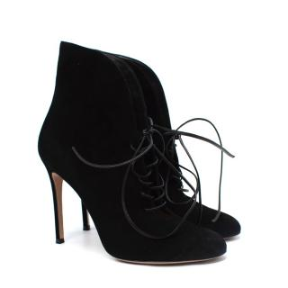 Gianvito Rossi Black Suede Lace-Up Ankle Booties