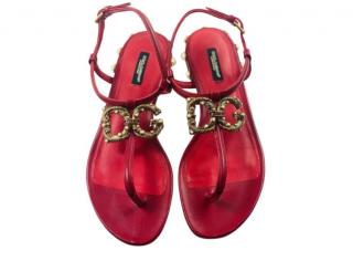 Dolce & Gabban Red Devotion Flat Sandals