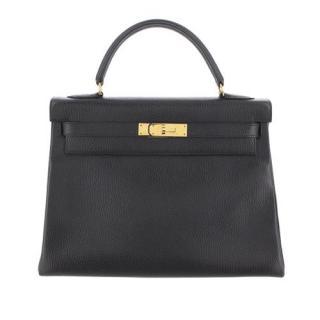Hermes Ardennes Leather Black Kelly Retourne 32 GHW