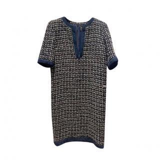 Chanel Suede Trimmed Blue Tweed Dress