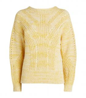Claudie Pierlot Yellow & White Wool/Cashmere Jumper