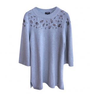 Chanel Cashmere Embellished Grey Knit Dress