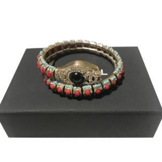 Chanel Embellished Snake Wrap Bracelet