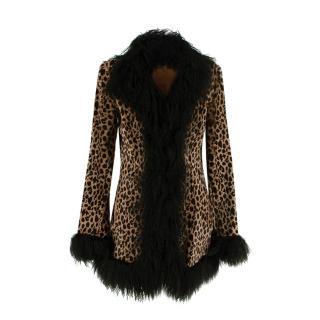 Joseph Leopard Print Ponyskin & Black Shearling Afghan Coat