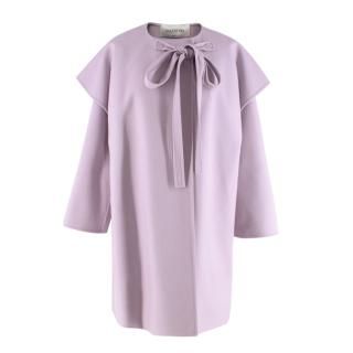 Valentino Pale Lilac Cashmere Hooded Cape Coat