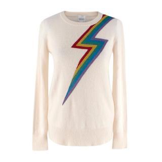 Madeleine Thompson Ivory Cashmere Metallic Lightening Bolt Sweater