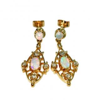 Bespoke Yellow Gold Filigree Diamond & Opal Drop Earrings