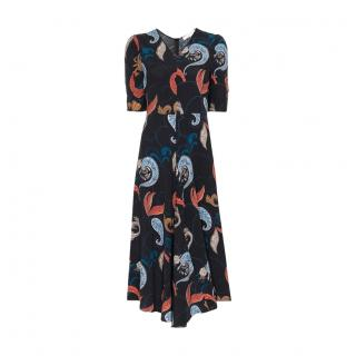 See By Chloe Black Paisley Print Midi Dress