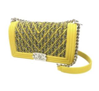 Chanel Yellow Tweed Medium Boy Bag