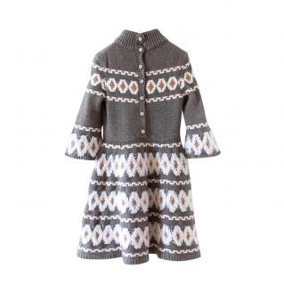 Chanel 2019 Grey Fair Isle Wool Blend Dress
