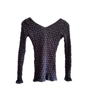 M Missoni Purple/Navy Lurex Knit Top