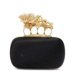 Alexander McQueen Black Silk Satin Gold-Tone Lily Knuckle Clutch