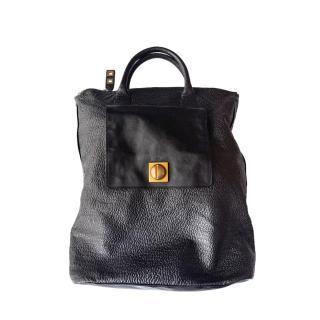 Chloe Black Grained Leather Tote Bag