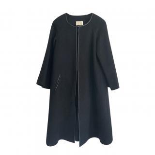Isabel Marant Leather Trimmed Black Wool Coat