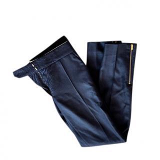 Stella McCartney Textured Navy Tailored Pants
