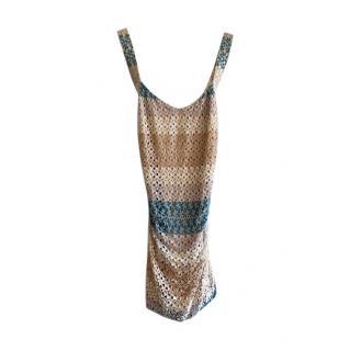 Missoni Crossover Back Striped Crochet Mini Dress