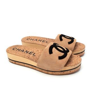 Chanel Beige & Black CC Suede Cork Slide Sandals