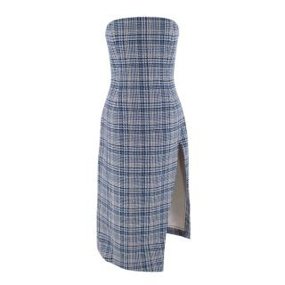 Off-White Prince of Wales Check Asymmetric Bustier Dress