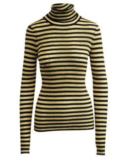 DolceGabbana Black & Gold Striped Roll Neck Jumper