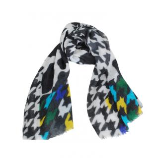 Boutique Moschino Multicolour Detail Black/White Wool Scarf