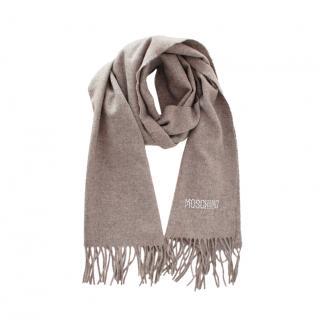 Moschino Grey Wool Crystal Logo Scarf