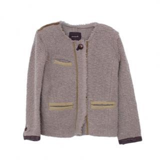 Isabel Marant Grey Wool Blend Leather Trimmed Jacket