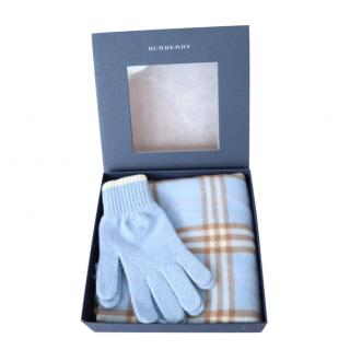 Burberry Baby Blue Check Scarf & Gloves