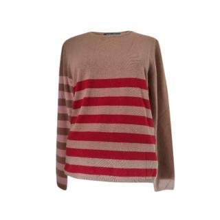 S'Max Mara Camel Striped Knit Jumper