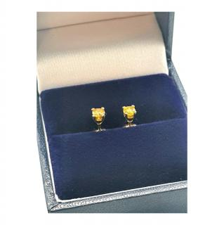 Bespoke Yellow Gold Yellow Diamond Stud Earrings
